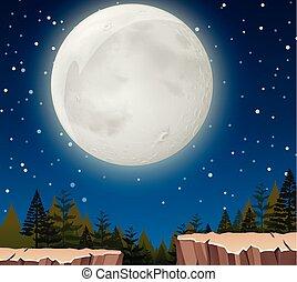 月, 現場, 夜