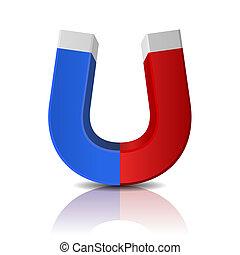 有光澤, 擦亮, 紅色, 以及藍色, 磁鐵, 在懷特上, 背景
