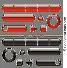 有光澤, 网, 按鈕, 不同, 形狀, set., 紅色, 以及, 黑色, 塑料, 在, 黃金, 稀薄, 框架, 彙整, 被隔离, 上, 透明, 背景