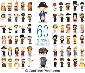 有关, 政治家, 矢量, 领导者, 60, collection:, 历史, 卡通漫画, style., 孩子, 放置...