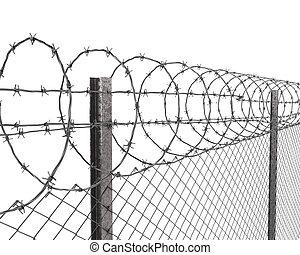 有刺鉄線の塀, 上, クローズアップ, chainlink