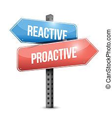 有反應, 設計, proactive, 插圖, 簽署
