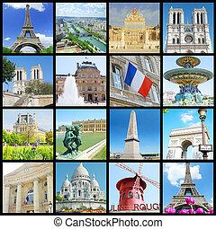 有名な場所, ほとんど, コラージュ, パリ