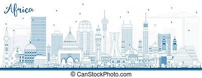 有名, スカイライン, アフリカ, アウトライン, landmarks.