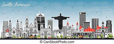 有名, スカイライン, アメリカ, landmarks., 南