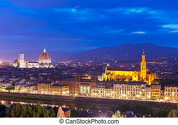 有名, 光景, イタリア, フィレンツェ, たそがれ