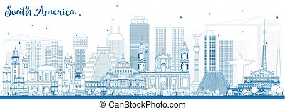 有名, 南, landmarks., アメリカ, スカイライン, アウトライン