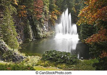 有名, 壮麗, 噴水, butchard-garden