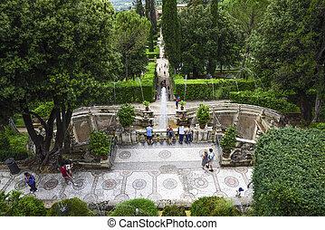 ∥, 有名, 庭, の, 別荘, d, 'este, 近くに, ローマ, italy.