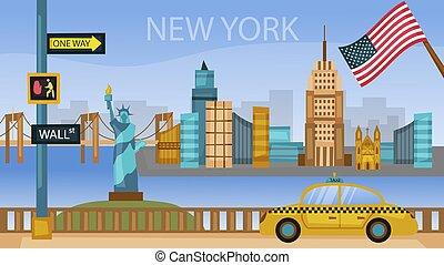 有名, 都市の景観, 建物。, 平ら, ベクトル, 都市, ヨーク, カラフルである, すべて, 構成, design., style., イラスト, スカイライン, 新しい