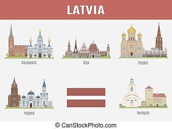 有名, 都市, 場所, ラトビア