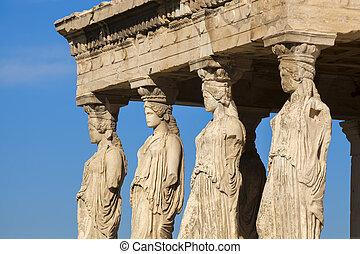 有名, caryatides, 中に, アクロポリス, アテネ, ギリシャ
