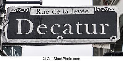 有名, decatur, 通り, 中に, ニユー・オーリンズ, フランス 四分の一