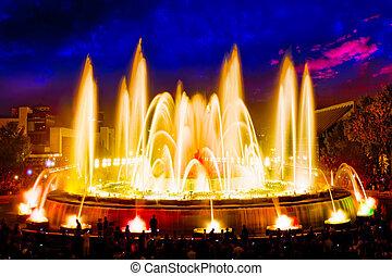 ∥, 有名, montjuic, 噴水, 中に, barcelona.