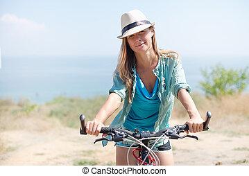 有吸引力, 妇女, 带, 自行车