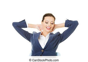有吸引力, 婦女坐, 由于, 她, 手, 後面, 她, neck.