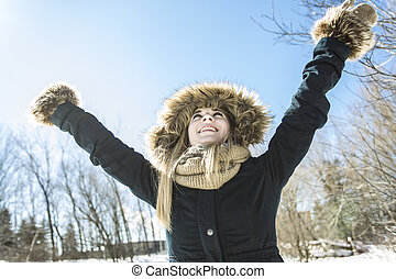 有吸引力, 少女, 在中, 冬季, 户外