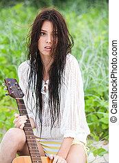 有吸引力, 年輕婦女, 由于, 吉他