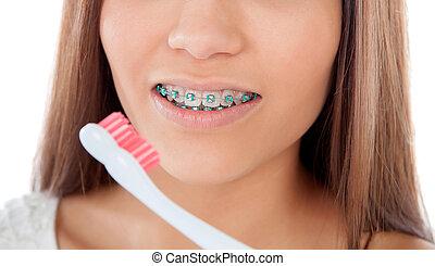 有吸引力, 年輕婦女, 由于, 括起來, 清掃, 她, 牙齒