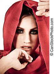 有吸引力, 年輕婦女, 穿, a, 紅色, 披肩