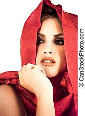有吸引力, 年輕婦女, 穿, a, 紅色, shawl.