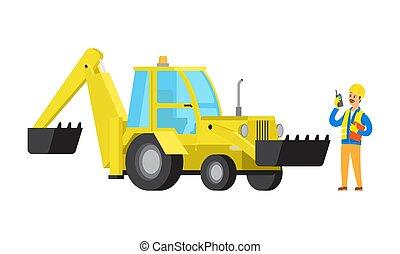 有声电影, excavator, walkie, 工程师, 矢量