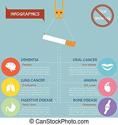 有害である, ベクトル, eps10, 喫煙, infographics