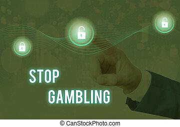 有害である, 衝動, テキスト, 止まれ, continuously, 手書き, 賭け, gambling., 概念, 意味, costs., despite