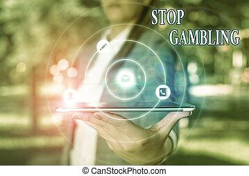 有害である, 衝動, 写真, テキスト, 止まれ, 提示, continuously, 概念, 賭け, 印, gambling., costs., despite