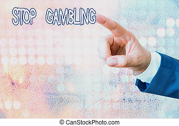 有害である, 衝動, 執筆, テキスト, 止まれ, continuously, 手書き, 賭け, gambling., 概念, 意味, costs., despite