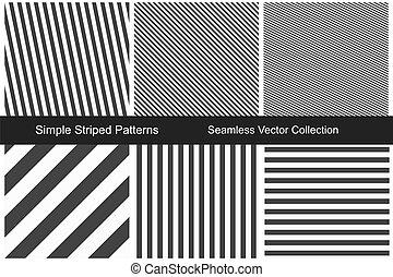 有條紋, patterns., seamless, 矢量, collection.