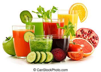 有機体である, ジュースをしぼる, フルーツ, 野菜, 新たに, 白, ガラス