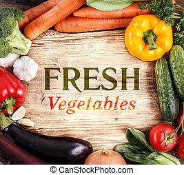 有機体である, スペース, 野菜, text., 食品。, 木, 背景