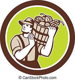 有機体である, バケツ, 届く, レトロ, 農夫, 収穫