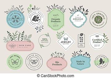 有機体である, プロダクト, サイン, 化粧品, セット, 美しさ, 自然