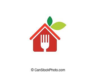 有機体である, レストラン, 食物, 菜食主義者, ベクトル, ロゴ, 抽象的, アイコン
