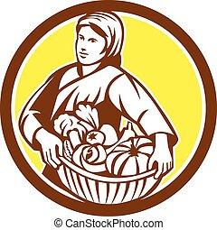 有機体である, レトロ, 女性, 農夫, バスケット, 収穫