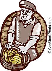 有機体である, 木版, linocut, 農夫, バスケット, 収穫