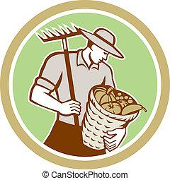 有機体である, 熊手, レトロ, 保有物, 農夫, バスケット, 収穫