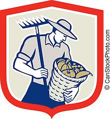 有機体である, 熊手, レトロ, 農夫, バスケット, 収穫