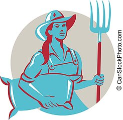 有機体である, 袋, 干し草用フォーク, レトロ, 女性, 農夫, 円