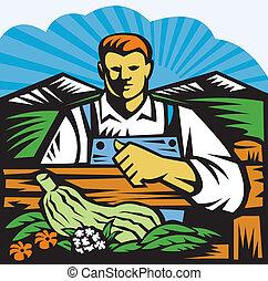 有機体である, 農場の農産物, レトロ, 農夫, 収穫
