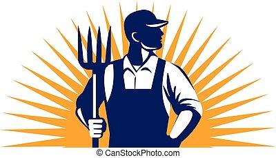 有機体である, 農夫, sunburst, レトロ, 干し草用フォーク