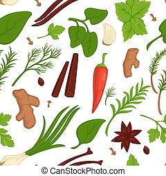 有機体である, 香辛料, パターン, seamless, ハーブ, 調味料, スパイス