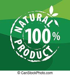 有機性 食糧, ベクトル, 緑の背景, ロゴ