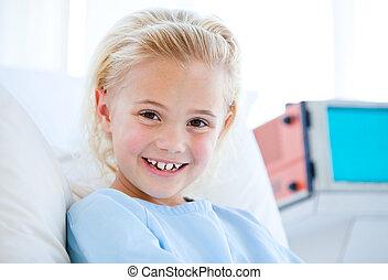 有病, 小女孩, 坐, 上, a, 醫院床