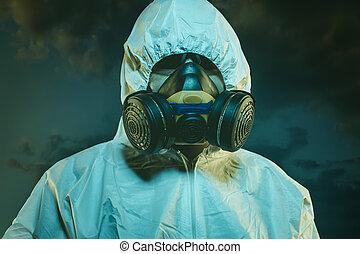 有病, 空氣, 污染, 所作, 污染, 人, 由于, 面罩, 以及, 保護的衣服, 概念, ......的, 生物學, 疾病, 以及, 環境, 問題