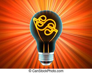 有益, 表す, 考え, 電球