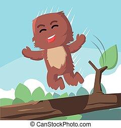 有舌苔, 跳躍, 森林, 怪物
