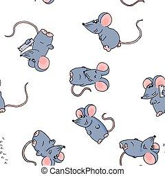 有色人種, かわいい, 白, seamless, バックグラウンド。, 面白い, マウス, パターン